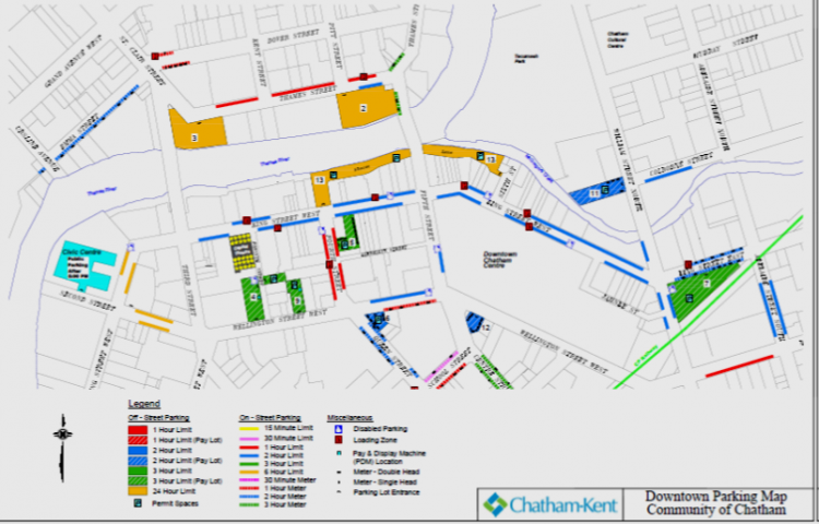 Downtown Chatham Parking Map